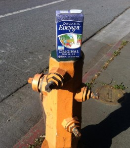 Discarded box of soy milk on a fire hydrant in downtown Santa Cruz. Like ya do.